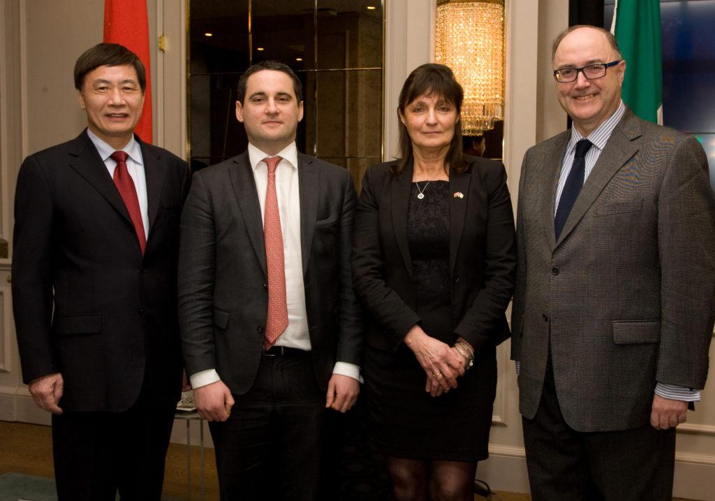 H.E. Jianguo Xu, Chinese Ambassador to Ireland, Mr Hugh Cooney (Vice Chair), Ms Susan Barrett (Chairperson) and H.E. Paul Kavanagh, Irish Ambassador to China
